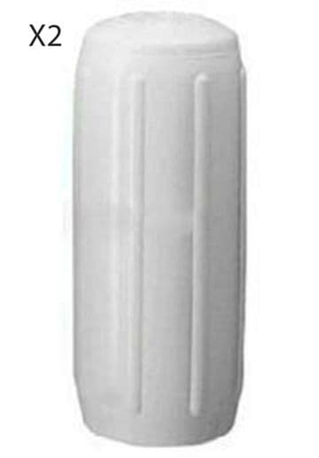 """2 x BOAT FENDERS RIBBED HTM3 'OCEAN BLUE' 20"""" - 50cm WHITE INFLATED marine yacht"""